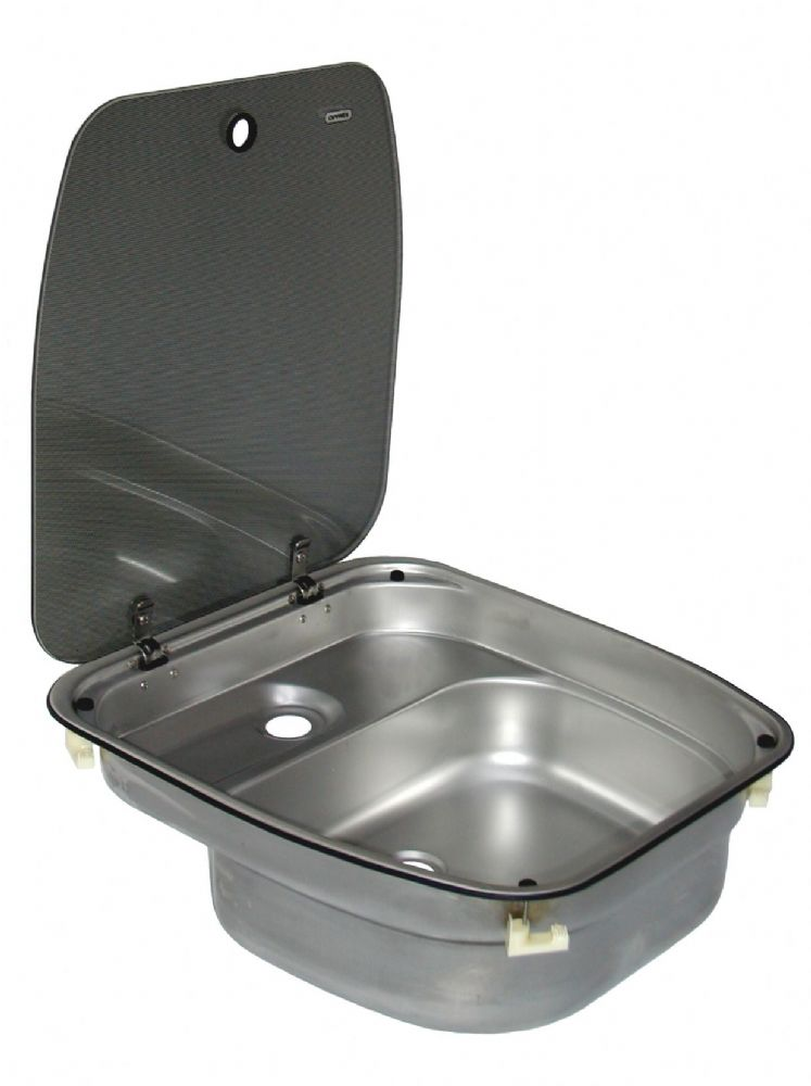 Dometic cramer sink with glass lid deluxe caravan and motorhome kitchen sinks campervan - Caravan kitchen sink ...
