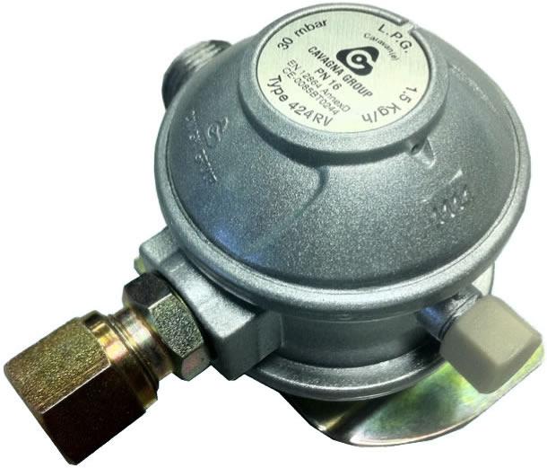 Cavagna Clip On 27mm Propane Gas Regulator for Gas Bottles 37mbar 8mm Outlet