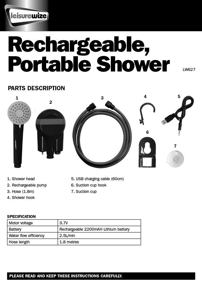Leisurewize Camping Caravan Rechargeable Portable Outdoor Shower LW627